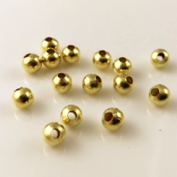 50 Gold  plated round spacer beads 10mm